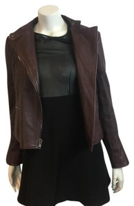 Theory Leather Joie Vince Leather Moto Moto Scuba burgundy Leather Jacket
