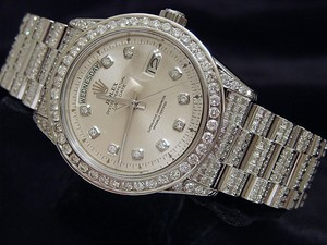 Rolex Mens Rolex 18K White Gold Day-Date President Full Diamond 1803