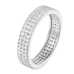 Other 14k White Gold Finish Eternity Wedding Ring Lab Diamonds Silver 925
