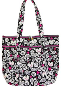 Vera Bradley Mickey Color Craze Quilted Mickey Meets Birdie Tote in Black, White & Pink