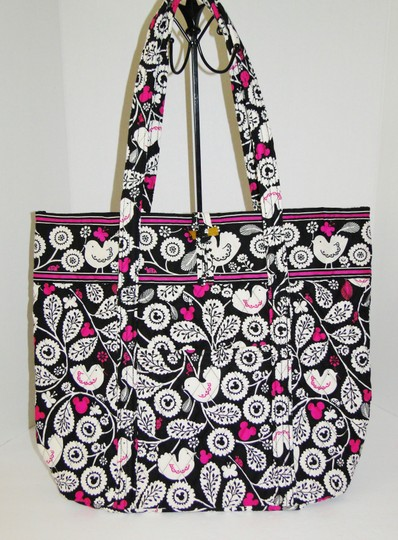 Vera Bradley Mickey Color Craze Quilted Mickey Meets Birdie Tote in Black, White & Pink Image 11