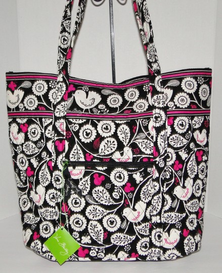 Vera Bradley Mickey Color Craze Quilted Mickey Meets Birdie Tote in Black, White & Pink Image 7