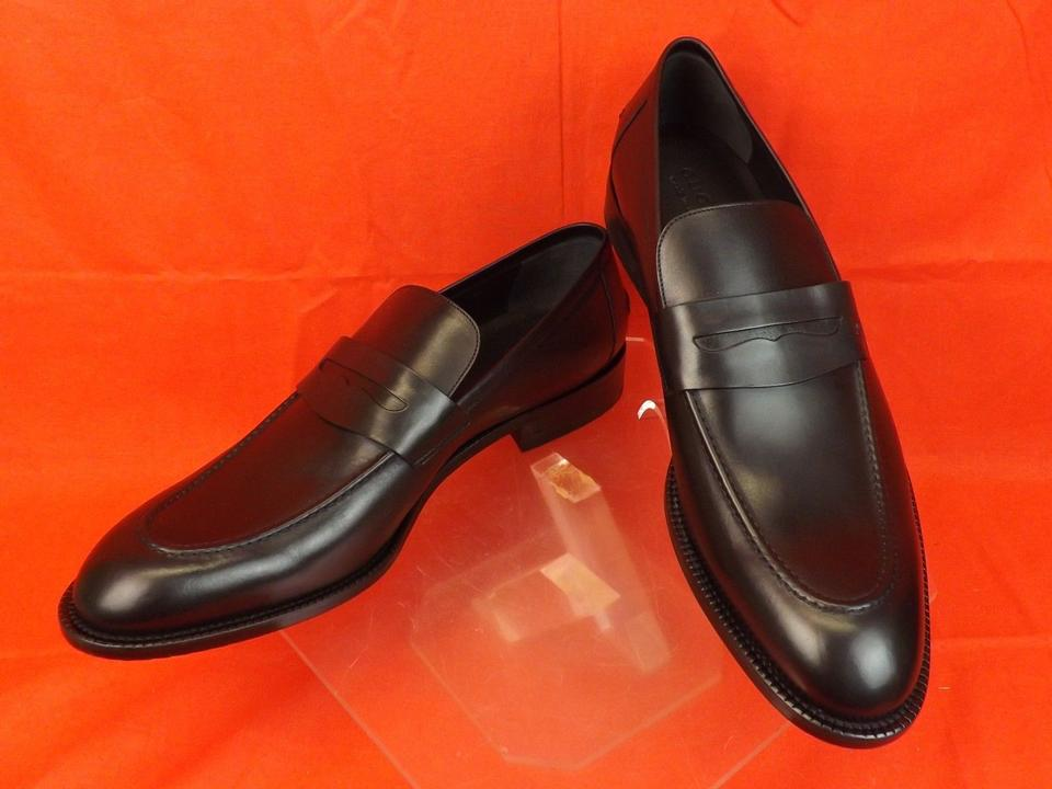 custom terrific value newest style of Gucci Black Mens Leather Script Logo Dress Penny Loafers 13.5 14.5 # 257824  Shoes 54% off retail