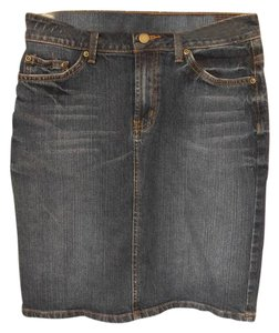Garnet Hill Summer Casual Classic Denim Distressed Skirt Blue