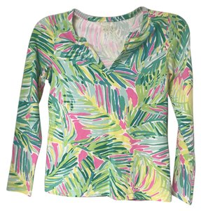 Lilly Pulitzer Fun Colorful Top Green Yellow Pink White