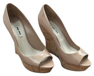 Miu Miu Patent Leather Cork Nude Wedges