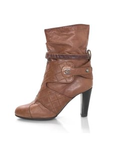Chanel Slouchy Ankle Quilted Leather tan Boots