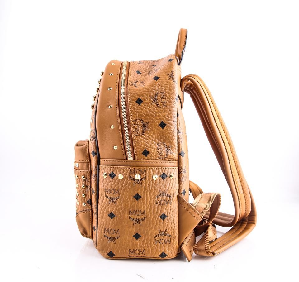 d778d37a6 MCM Small Diamond Visetos Brown Coated Canvas Backpack - Tradesy
