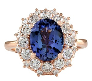 Fashion Strada 4.16CTW Natural Blue Tanzanite And Diamond Ring In 14K Solid Rose Gold