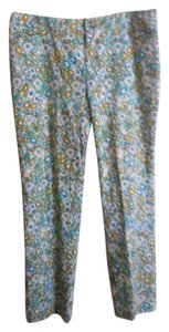 Doncaster Straight Pants Aqua, teal, white, mustard & green pattern
