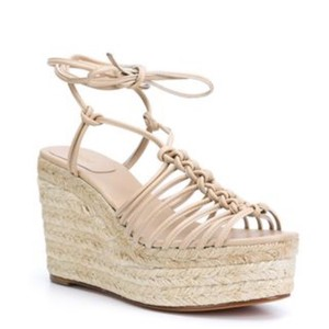 Chlo fawn beige leather Wedges