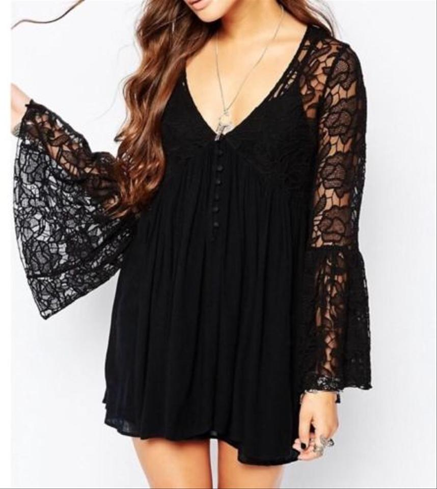 b07714fe496 Free People Black Lace New with Love From India Bell Sleeve S Med Short  Night Out Dress Size 4 (S) - Tradesy