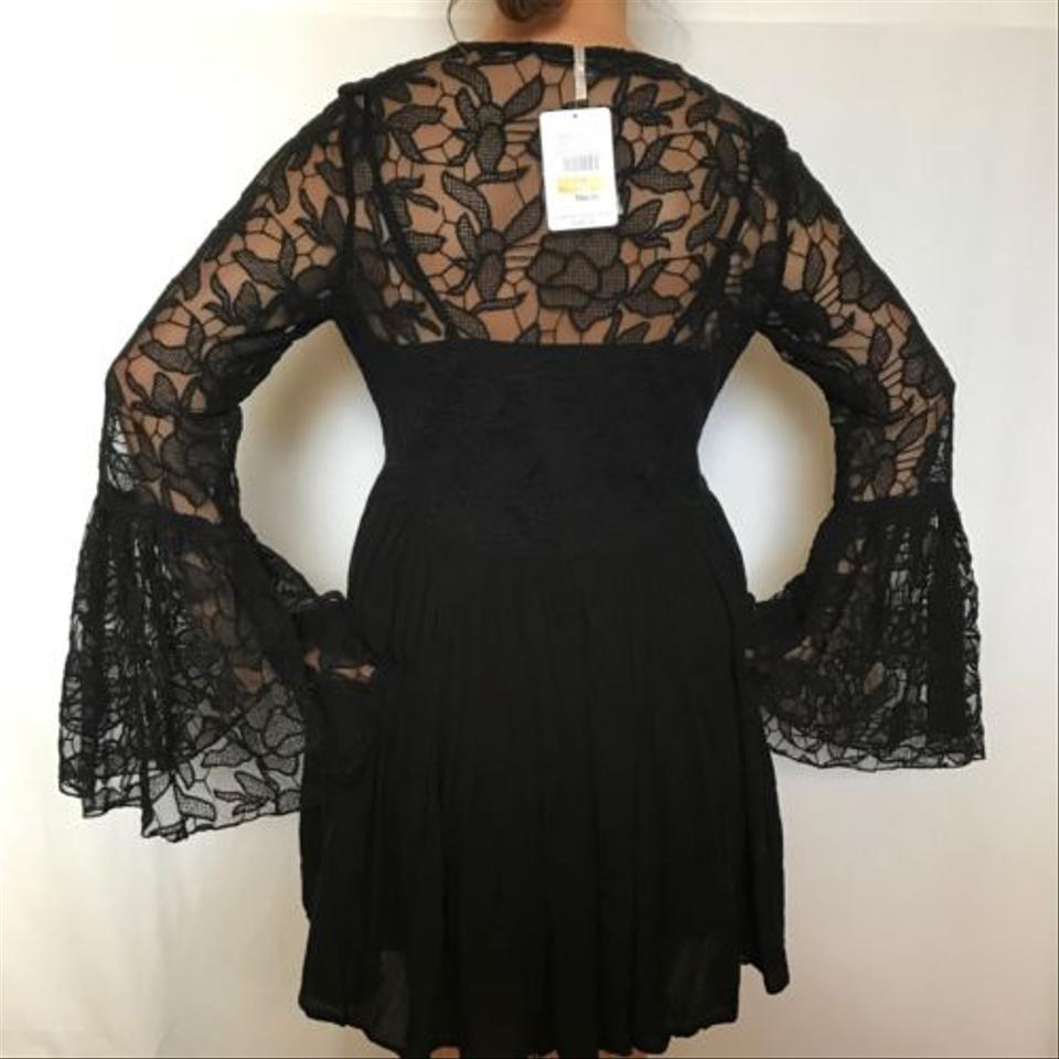 05eabd8ced5 Free People Black Lace New with Love From India Bell Sleeve S Med ...