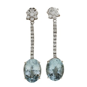 Fashion Strada 11.69 Carat Natural Aquamarine 14K White Gold Diamond Earrings