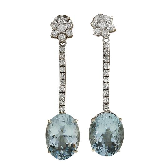 Preload https://img-static.tradesy.com/item/21305350/blue-1169-carat-natural-aquamarine-14k-white-gold-diamond-earrings-0-0-540-540.jpg