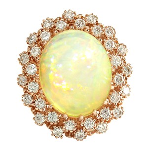 Fashion Strada 8.11CTW Natural Opal And Diamond Ring In 14K Rose Gold