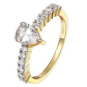 Other Pear Cut Solitaire Wedding Ring 14k Gold Finish Sterling 925 Silver