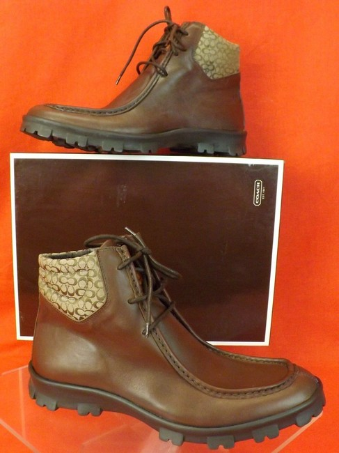 Item - Brown Mens Abel Calf Leather Signature Canvas Cuff Lace Up Boots 8 9 Shoes