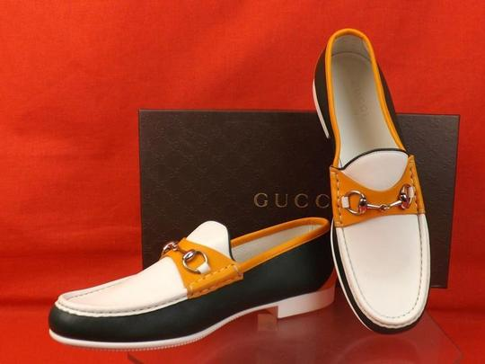 Gucci Multi Color Horsebit Mens Rafer Green Orange White Leather Loafer 11.5 12.5 337060 Shoes