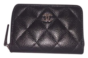 Chanel NWT CHANEL Black Caviar Silver O CC Zip Wallet Coin Purse Card Case