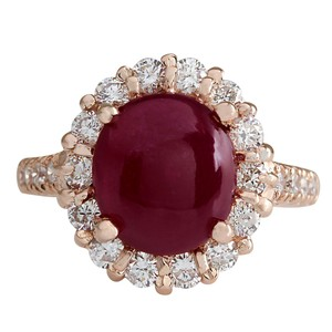 Fashion Strada 5.42CTW Natural Ruby Cabochon And Diamond Ring 14K Solid Rose Gold