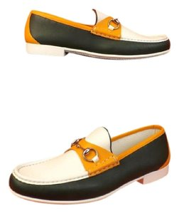 Gucci Multi Color Horsebit Mens Rafer Green Orange White Leather Loafer 9 10 337060 Shoes