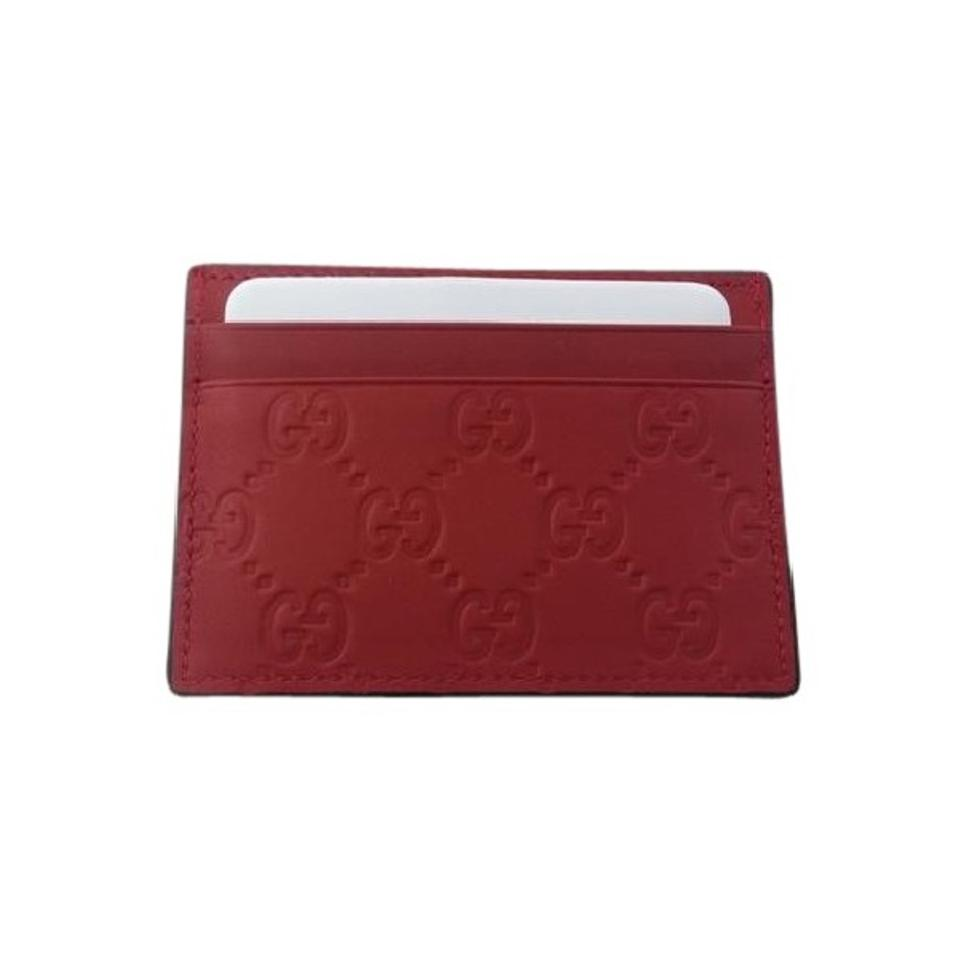 Gucci Red Guccissima Leather Card Case Card Holder Wallet - Tradesy