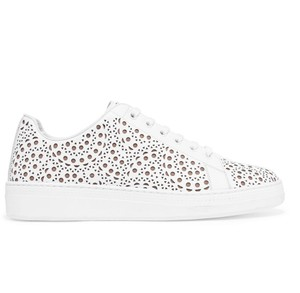 ALAÏA Alaia Lace Up Laser Cut Sneakers Trainers White Athletic