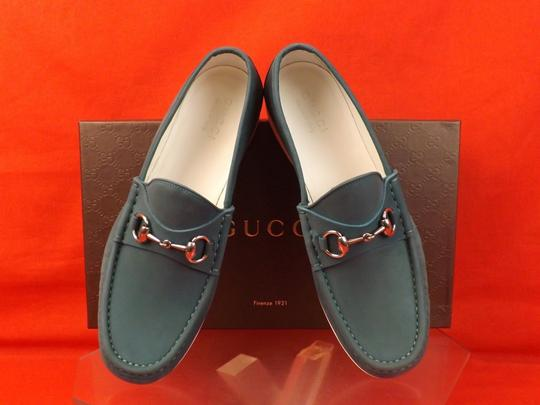 Gucci Green Horsebit Mens Rafer Grass Waxed Leather Silver Loafers 9 10 Shoes