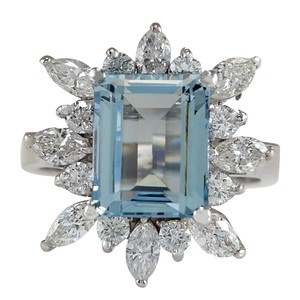Fashion Strada 5.10CTW Natural Blue Aquamarine And Diamond Ring In 14K White Gold