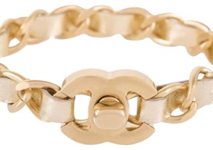 Chanel Chanel Gold and Leather Woven Interlock Bracelet