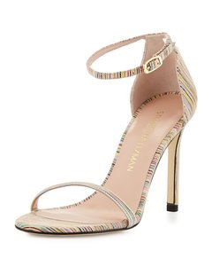 Stuart Weitzman Nunaked Nudist Nudistsong STRIPED LEATHER BISQUE Sandals