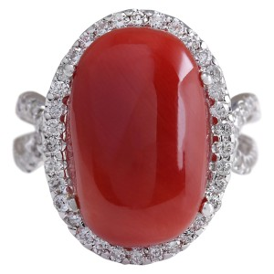 Fashion Strada 11.44 CTW Natural Red Coral And Diamond Ring In 14k White Gold