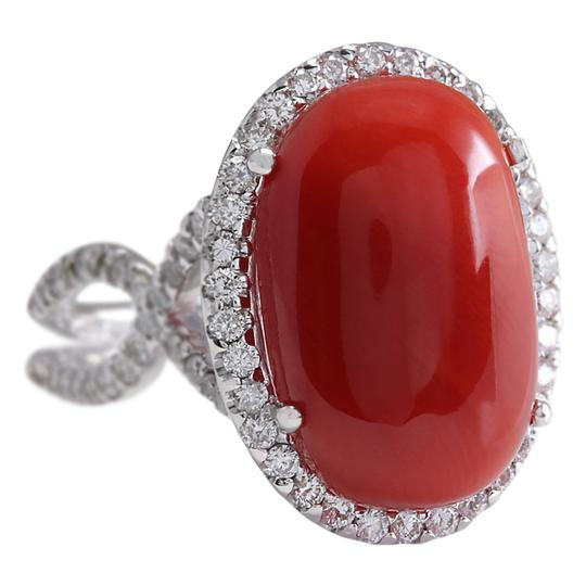 Fashion Strada 11.44 CTW Natural Red Coral And Diamond Ring In 14k White Gold Image 1