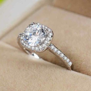 New Diamond Ring Wedding S925 Sterling Silver Cushion