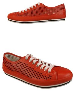 Prada Red Mens Perforated Leather Sporty Cap Toe Lace Up Sneakers 11 12 Shoes