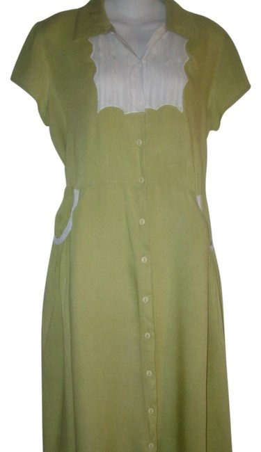 Item - Green Rayon 60's Vintage Style Button Front Cap Sleeve Mid-length Casual Maxi Dress Size 6 (S)
