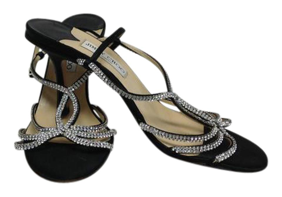3357d4046bad Jimmy Choo Black Silk and Crystal Strappy Slingback Sandals Size US ...
