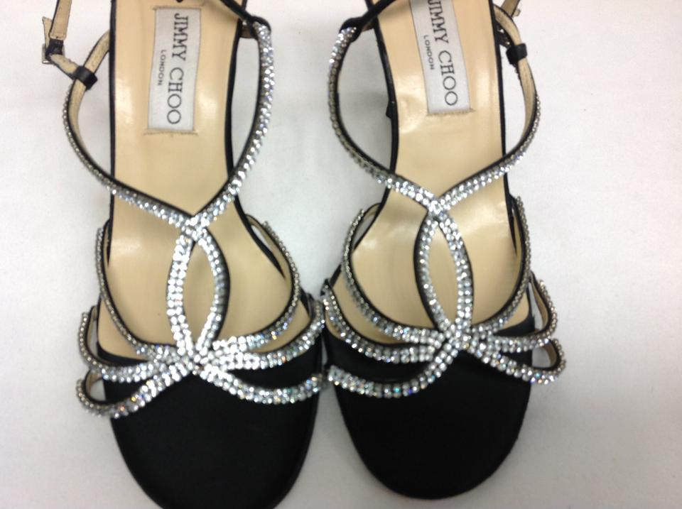 c382ca1be702 Jimmy Choo Black Silk and Crystal Strappy Slingback Sandals Size US 10  Regular (M