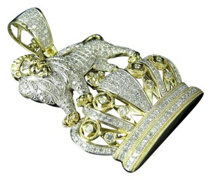 """Jewelry Unlimited Crowned Lion Genuine Diamond Pendant Charm 2.5 1.55Ct 1.7"""""""