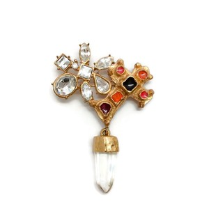 Christian Lacroix Vintage Gold Cross Prism Brooch