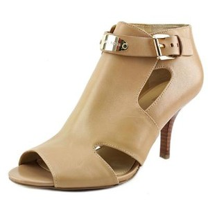 Michael Kors Leather Gold Hardware Open Toe Buckle Ankle Toffee Pumps