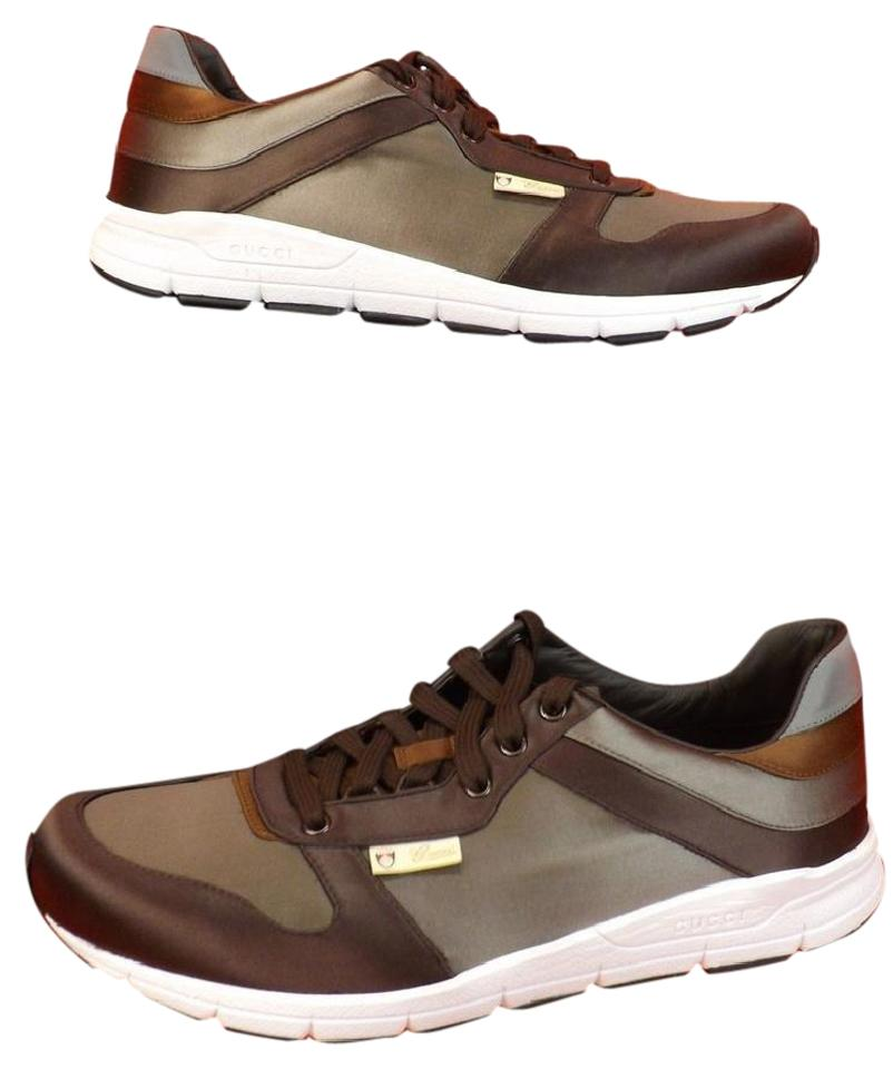 230b8253c Gucci Multi-color Mens Gray Chocolate Ipanema Satin Lace Up Running Sneakers  11 12 Shoes