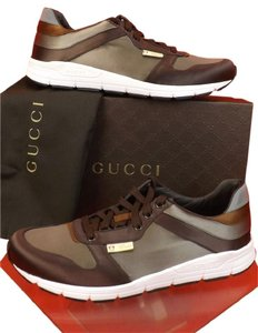 Gucci Multi-color Mens Gray Chocolate Ipanema Satin Lace Up Running Sneakers 13.5/ 14.5 Shoes