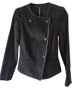 Comptoir des Cotonniers Velvet Leather French Military Slate Grey Blazer