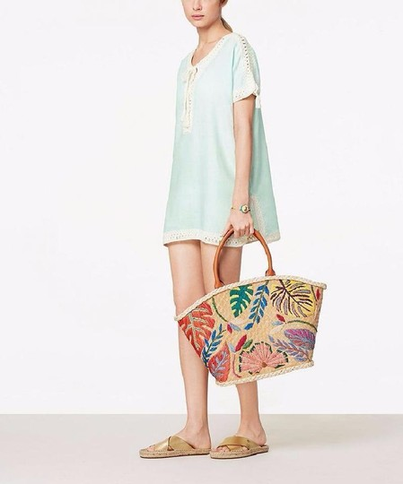 Tory Burch Straw Summer Embroidered Beach Boho Tote in Natural