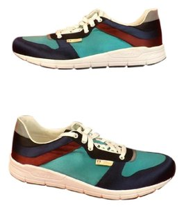 Gucci Multi-color Mens Blue Marine Satin Lace Up Running Sneakers 11.5 12.5 Shoes
