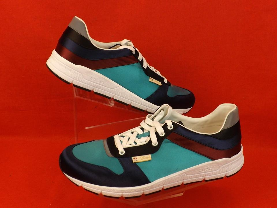 9f9157eea2b Gucci Multi-color Mens Blue Marine Satin Lace Up Running Sneakers 12 13  Shoes Image. 123456789