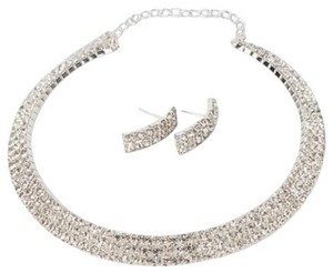 3pc Rhinestone Cuff Style Choker Necklace & Earring Bridal Jewelry Set