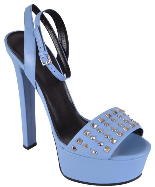 Item - Mineral Blue New Women's Leather Studded Leila Sandals 37.5g Platforms Size US 7.5 Regular (M, B)